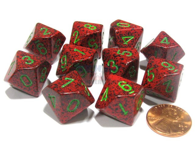 Set de 10 D10 Chessex Speckled Strawberry