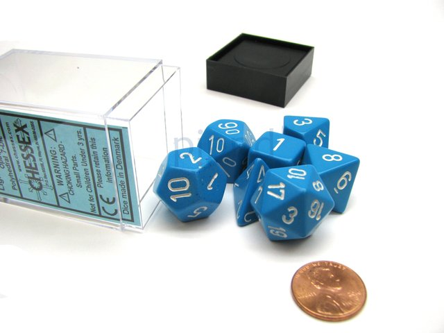 Set de 7 Dados Chessex Opaque Light Blue/white en internet