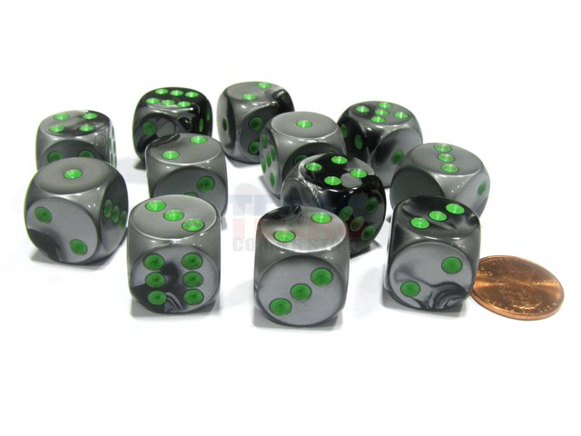 Bloque de 12 D6 Chessex Gemini Black-Grey/green 16mm
