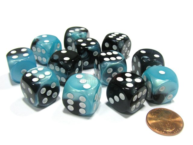 Bloque de 12 D6 Chessex Gemini Black-Shell/white 16mm