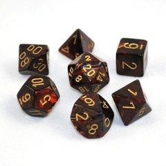 Set de 7 Dados Chessex Scarab Blue-Blood/Gold - comprar online