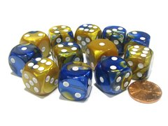 Bloque de 12 D6 Chessex Gemini Blue-Gold/white 16mm