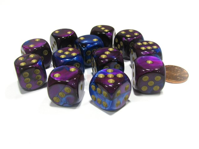 Bloque de 12 D6 Chessex Gemini Blue-Purple/gold 16mm