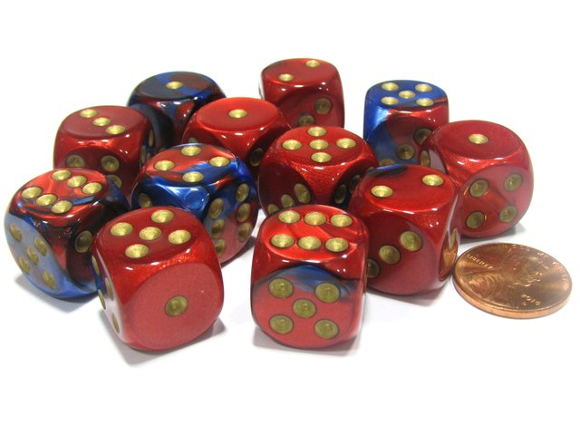 Bloque de 12 D6 Chessex Gemini Blue-Red/gold 16mm