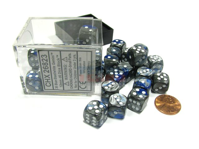 Bloque de 36 D6 Chessex Gemini Blue-Steel/white 12mm