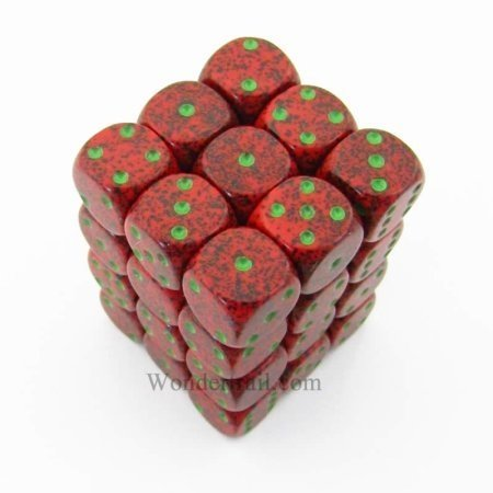 Bloque de 36 D6 Chessex Speckled Strawberry 12mm