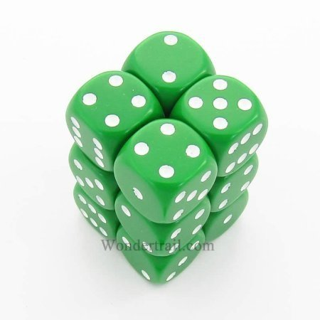 Bloque de 12 D6 Chessex Opaque Green/white 16mm - comprar online