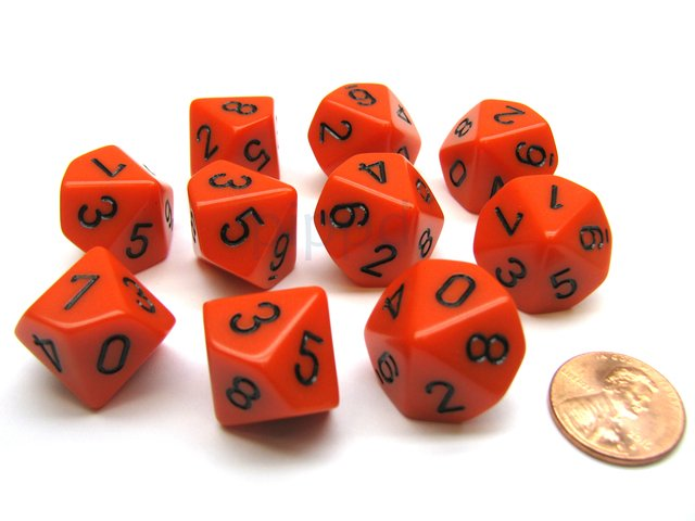 Set de 10 D10 Chessex Opaque Orange/black