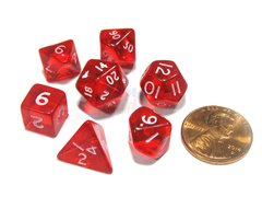 Set de 7 Dados Chessex Miniatura - Translucent Red with White - comprar online