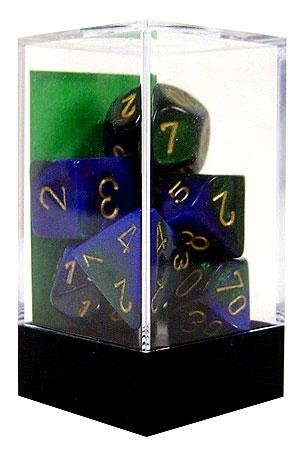 Set de 7 Dados Chessex Gemini Blue-Green/gold en internet