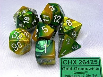 Set de 7 Dados Chessex Gemini Gold-Green/White - EL OGRO ALEGRE