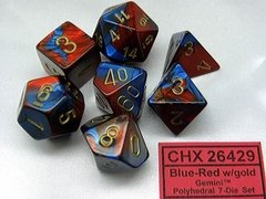 Set de 7 Dados Chessex Gemini Blue-Red/gold - EL OGRO ALEGRE