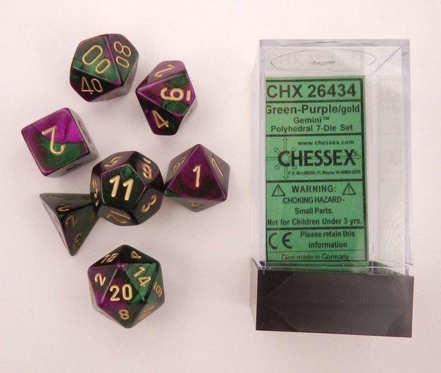 Set de 7 Dados Chessex Gemini Green-Purple/gold en internet