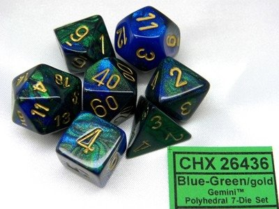 Set de 7 Dados Chessex Gemini Blue-Green/gold - tienda online