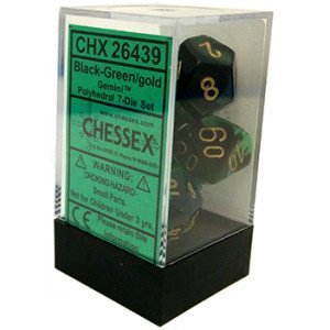 Set de 7 Dados Chessex Gemini Black-Green/gold en internet