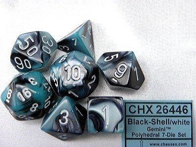 Set de 7 Dados Chessex Gemini Black-Shell/White en internet