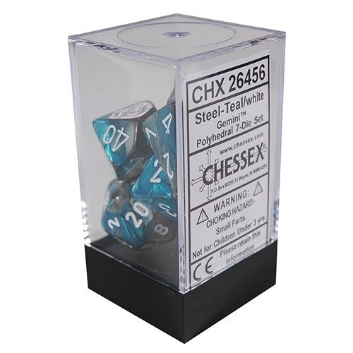 Set de 7 Dados Chessex Gemini Steel-Teal/white en internet