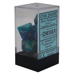 Set de 7 Dados Chessex Gemini Blue-Teal/Gold en internet