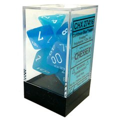 Set de 7 Dados Chessex Frosted Caribbean Blue/White - EL OGRO ALEGRE