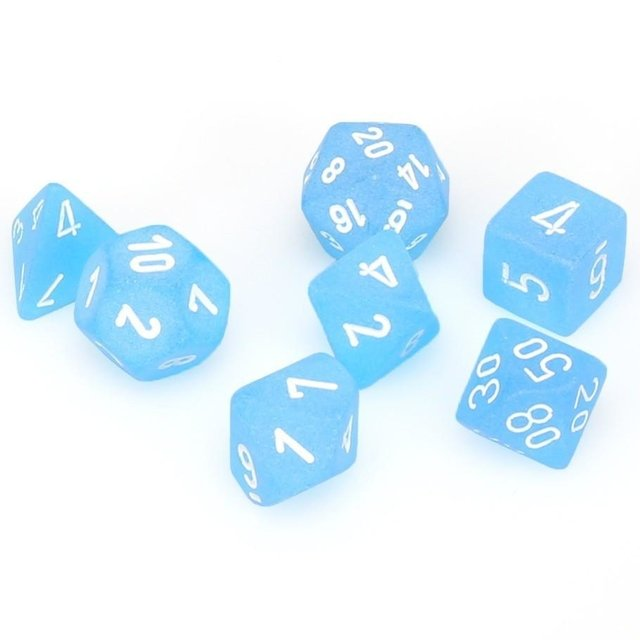 Set de 7 Dados Chessex Frosted Caribbean Blue/White - comprar online