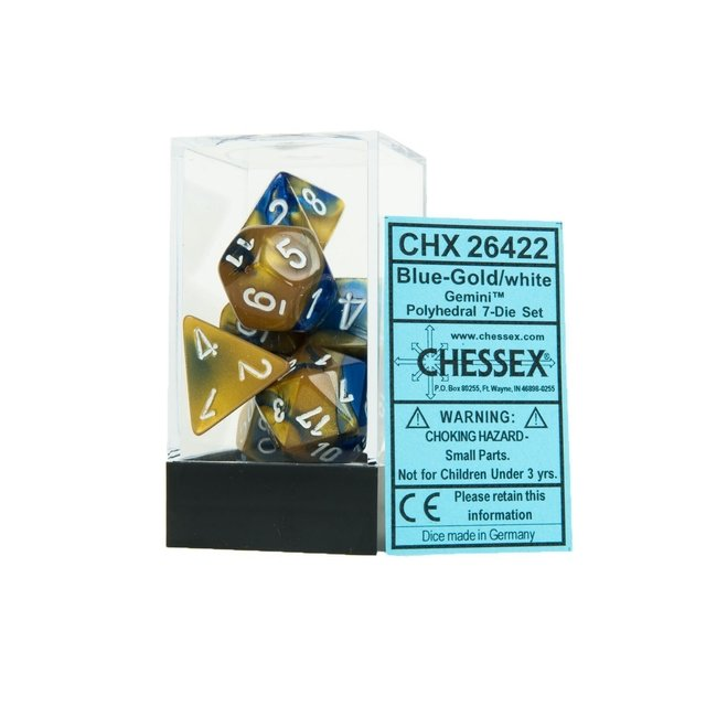 Set de 7 Dados Chessex Gemini Blue-Gold/White en internet