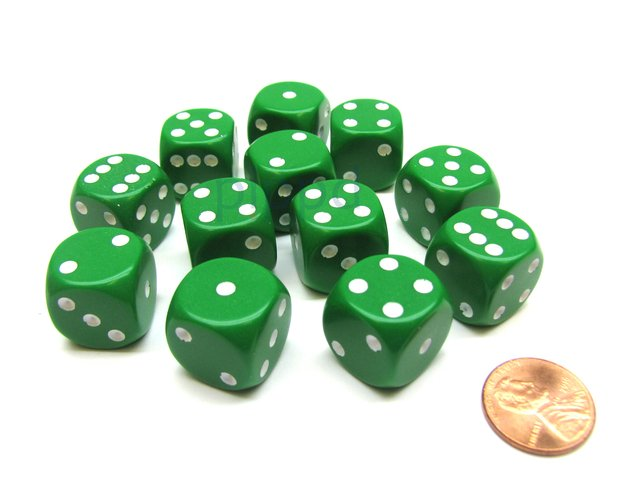 Bloque de 12 D6 Chessex Opaque Green/white 16mm