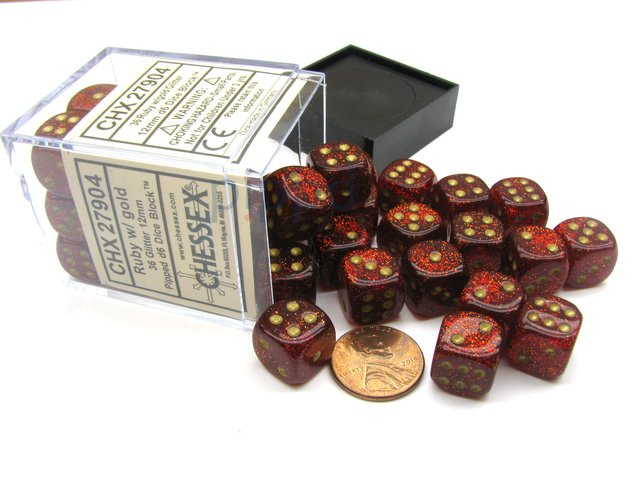 Bloque de 36 D6 Chessex Glitter Ruby/gold 12mm