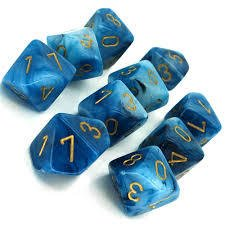 Set de 10 D10 Chessex Phantom Teal/Gold - comprar online