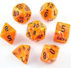 Set de 7 Dados Chessex Vortex Orange/black - EL OGRO ALEGRE