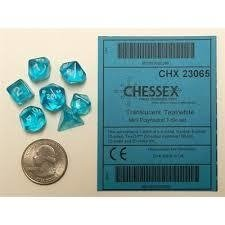 Set de 7 Dados Chessex Miniatura - Translucent Teal with White en internet