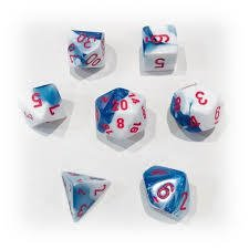 Set de 7 Dados Chessex Gemini Astral Blue-White/red - comprar online