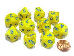 Set de 10 D10 Chessex Yellow/Blue - comprar online