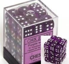 Bloque de 36 D6 Chessex Translucent Purple/white 12mm en internet
