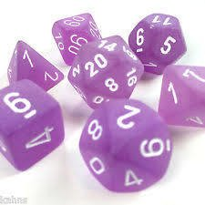 Set de 7 Dados Chessex Frosted Purple/white - EL OGRO ALEGRE