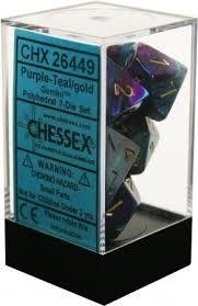 Set de 7 Dados Chessex Gemini Purple-Teal/Gold - EL OGRO ALEGRE