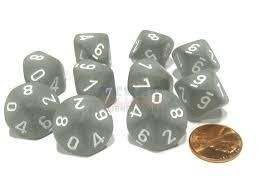 Set de 10 D10 Chessex Frosted Smoke/white - comprar online