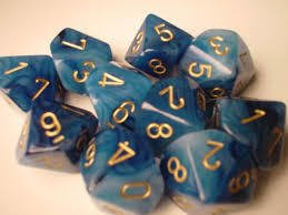 Set de 10 D10 Chessex Phantom Teal/Gold - EL OGRO ALEGRE