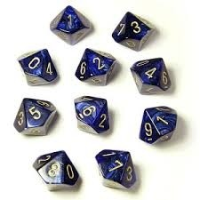 Set de 10 D10 Chessex Scarab Royal Blue/Gold en internet
