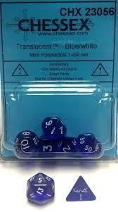Set de 7 Dados Chessex Miniatura - Translucent blue with white en internet