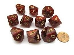 Set de 10 D10 Chessex Glitter Ruby/gold - comprar online