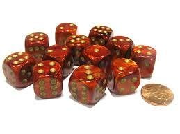 Bloque de 12 D6 Chessex Scarab Scarlet/gold 16mm