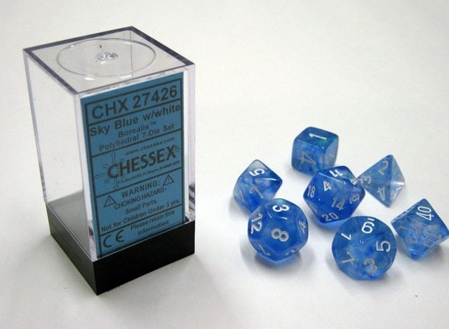 Set de 7 Dados Chessex Borealis Sky Blue/White en internet