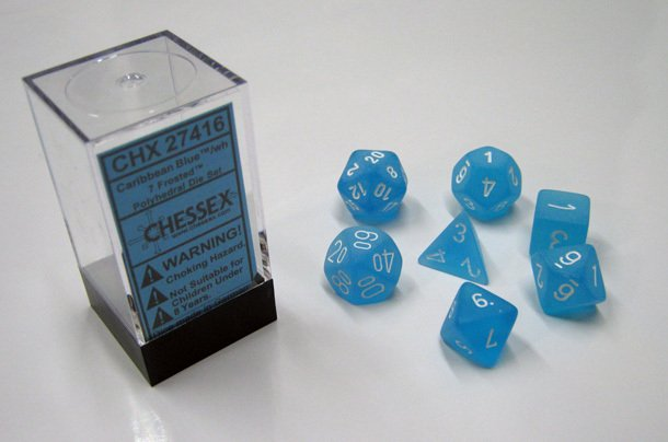 Set de 7 Dados Chessex Frosted Caribbean Blue/White en internet