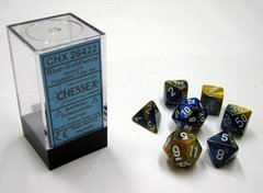 Set de 7 Dados Chessex Gemini Blue-Gold/White - EL OGRO ALEGRE