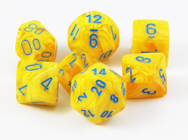 Set de 7 Dados Chessex Vortex Yellow/Blue