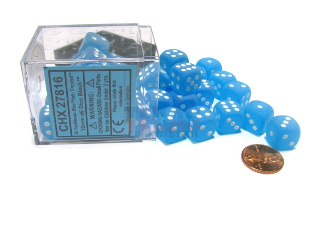 Bloque de 36 D6 Chessex Frosted Caribbean Blue/white 12mm