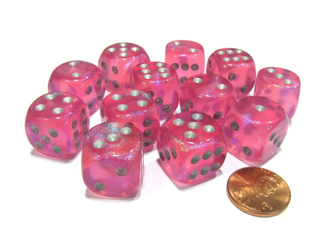 Bloque de 12 D6 Chessex Borealis Pink/silver 16mm