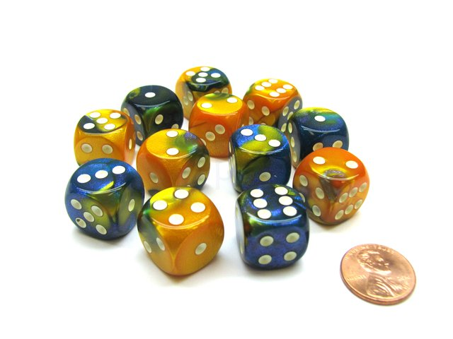 Bloque de 12 D6 Chessex Gemini Masquerade-Yellow/white 16mm