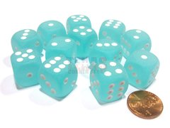 Bloque de 12 D6 Chessex Frosted Teal/white 16mm