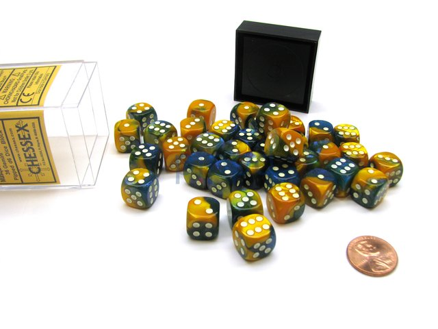 Bloque de 36 D6 Chessex Gemini Masquerade-Yellow/white 12mm